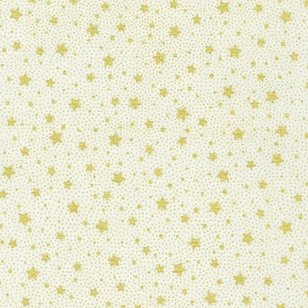 ROBERT KAUFMAN HOLIDAY FLOURISH 13, IVORY Gold Stars $0.20 /CM OR $20/M