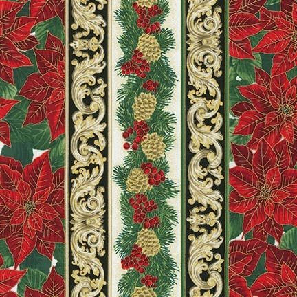 ROBERT KAUFMAN HOLIDAY FLOURISH 13, HOLIDAY Border $0.20 /CM OR $20/M