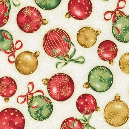 ROBERT KAUFMAN HOLIDAY FLOURISH 13, IVORY Christmas Balls $0.20 /CM OR $20/M