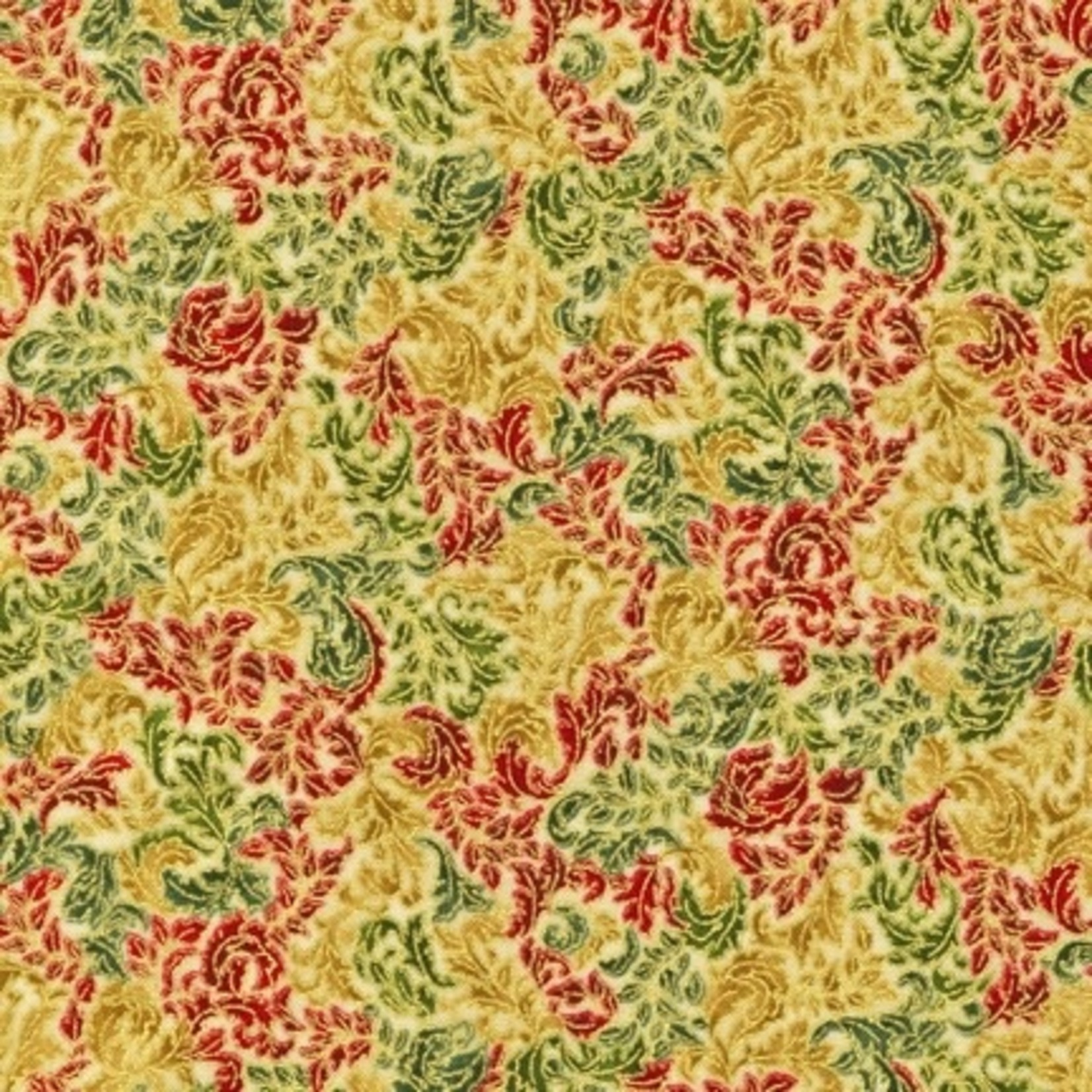 Robert Kaufman HOLIDAY FUSIONS REGENT, HOLIDAY WITH GOLD $0.20 /CM OR $20/M