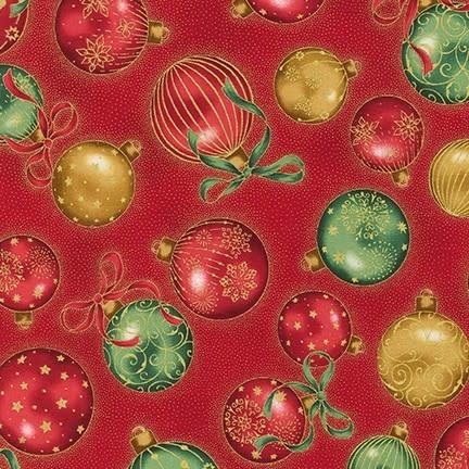 ROBERT KAUFMAN HOLIDAY FLOURISH 13, RED Christmas Balls $0.20 /CM OR $20/M