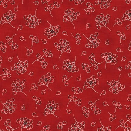 ROBERT KAUFMAN HOLIDAY FLOURISH 13, SCARLET BERRIES $0.20 /CM OR $20/M