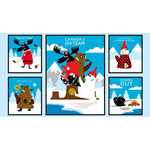 WILMINGTON PRINTS CANADIAN CAPERS PANEL BLUE 493 WAS $13.95 NOW $10
