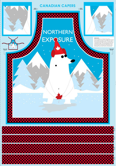 WILMINGTON PRINTS CANADIAN CAPERS PANEL 431 POLAR BEAR APRON