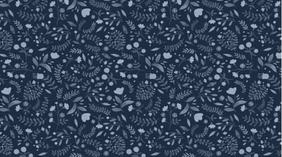 DEAR STELLA Brave Enough to Dream -  WINTER FLORAL ON BLUE -  /cm or $20/m
