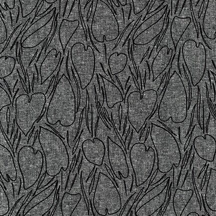 ROBERT KAUFMAN DRIFTLESS, BLACK - PER CM OR $27/M  19017-2(55%LINEN/45%COTTON)