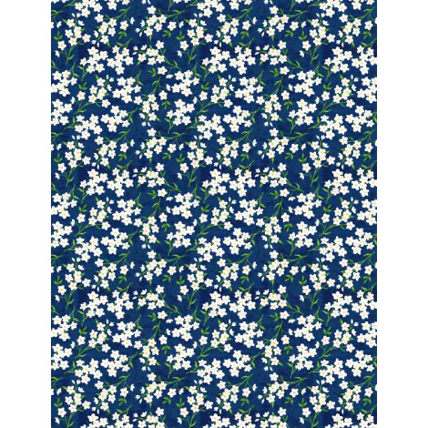 WILMINGTON PRINTS Madison Navy with white flowers, /cm or $20/m