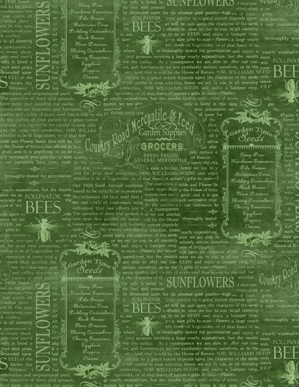 WILMINGTON PRINTS PER CM OR $20/M COUNTRY ROAD MARKET GREEN WORDS