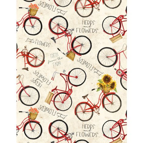 WILMINGTON PRINTS PER CM OR $20/M COUNTRY ROAD MARKET RED BICYCLES