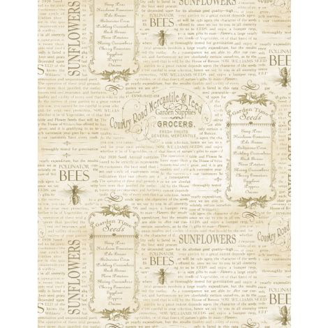 WILMINGTON PRINTS PER CM OR $20/M COUNTRY ROAD MARKET VINTAGE WORDS