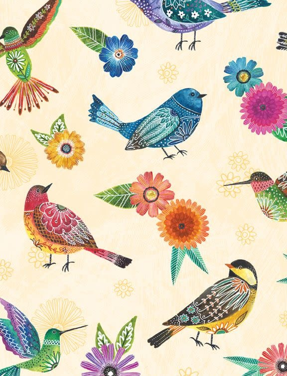 WILMINGTON PRINTS Floral Flight Embroidered Birds, CREAM /cm or $20/m 11153