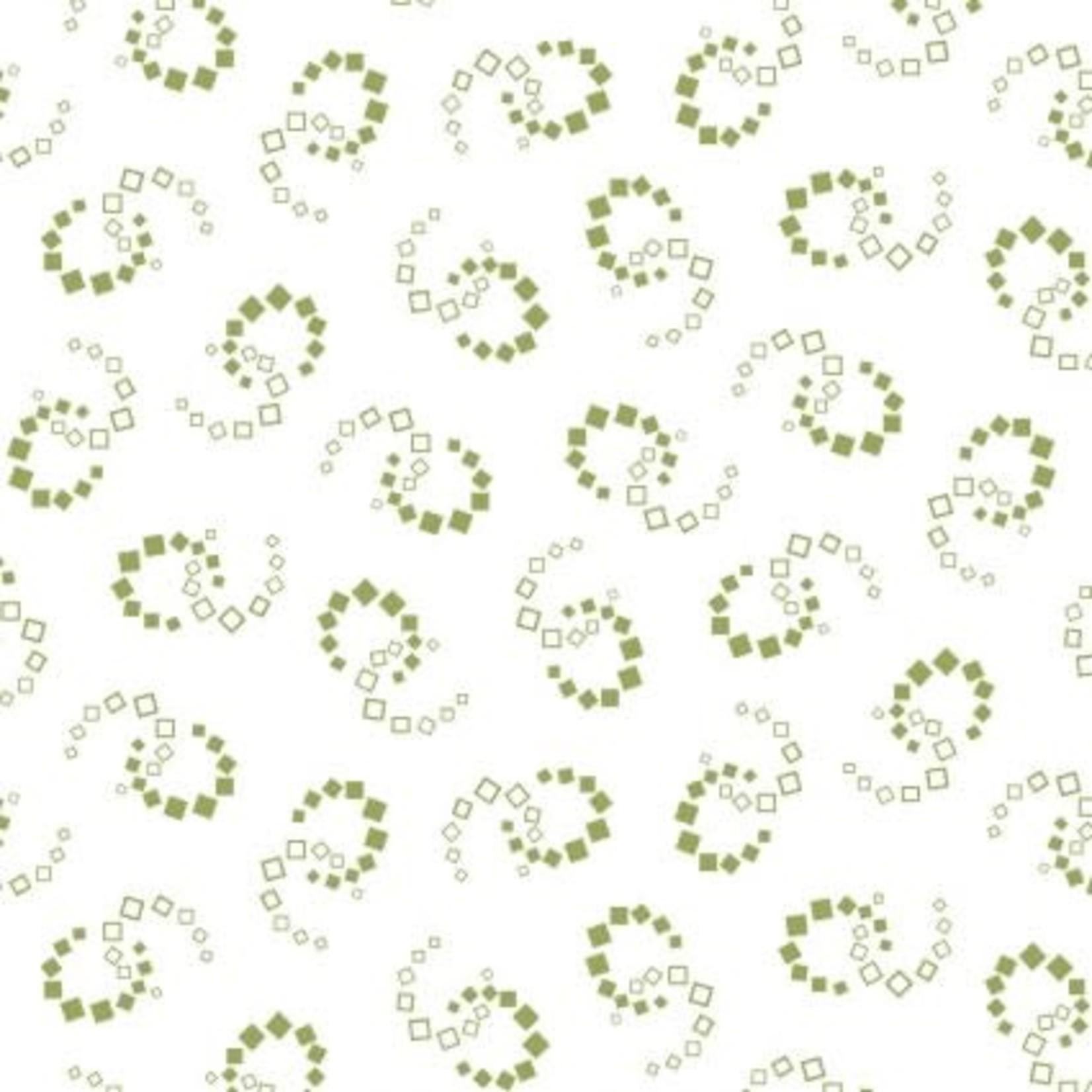 Maywood Carnaby Geometric Swirl White Green, /CM OR $18/M