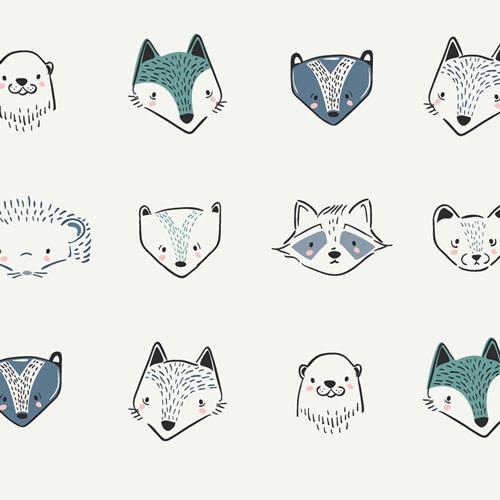 ART GALLERY Pine Lullaby Furries Blue-Grey, per cm or $20/M