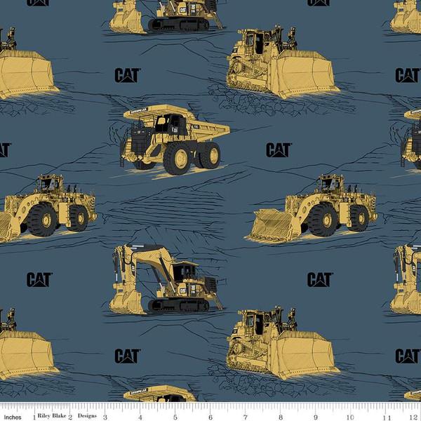 RILEY BLAKE DESIGNS CAT MAIN,BLUE (9100), PER CM OR $20/M