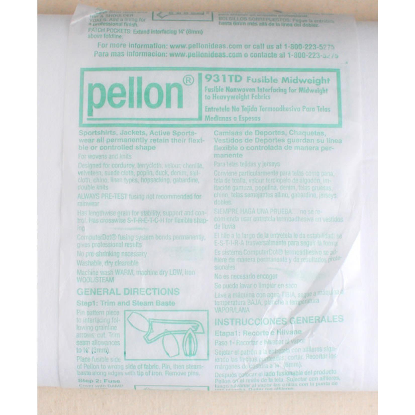 Pellon PELLON 931TD NON WOVEN INTERFACING MIDWEIGHT, PER CM OR $6/M