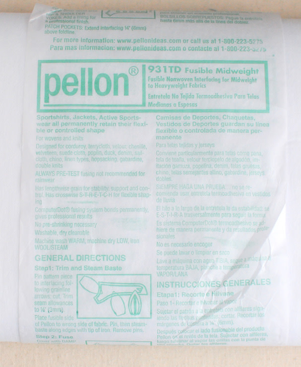 PELLON PELLON 931TD NON WOVEN INTERFACING MIDWEIGHT, PER CM OR $6/M