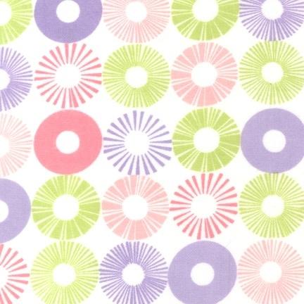 ROBERT KAUFMAN Cozy Cotton Sunbursts (Pink/Green) Per CM or $16/m
