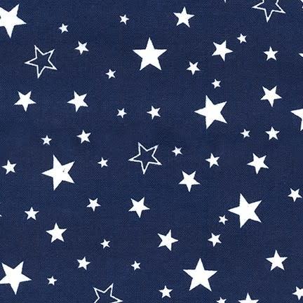 ROBERT KAUFMAN Cozy Cotton Stars on Navy (blue /White) Per CM or $16/m