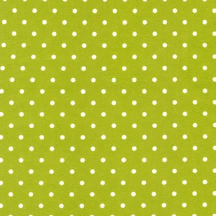 ROBERT KAUFMAN Cozy Cotton white dots on green (green /White) Per CM or $16/m