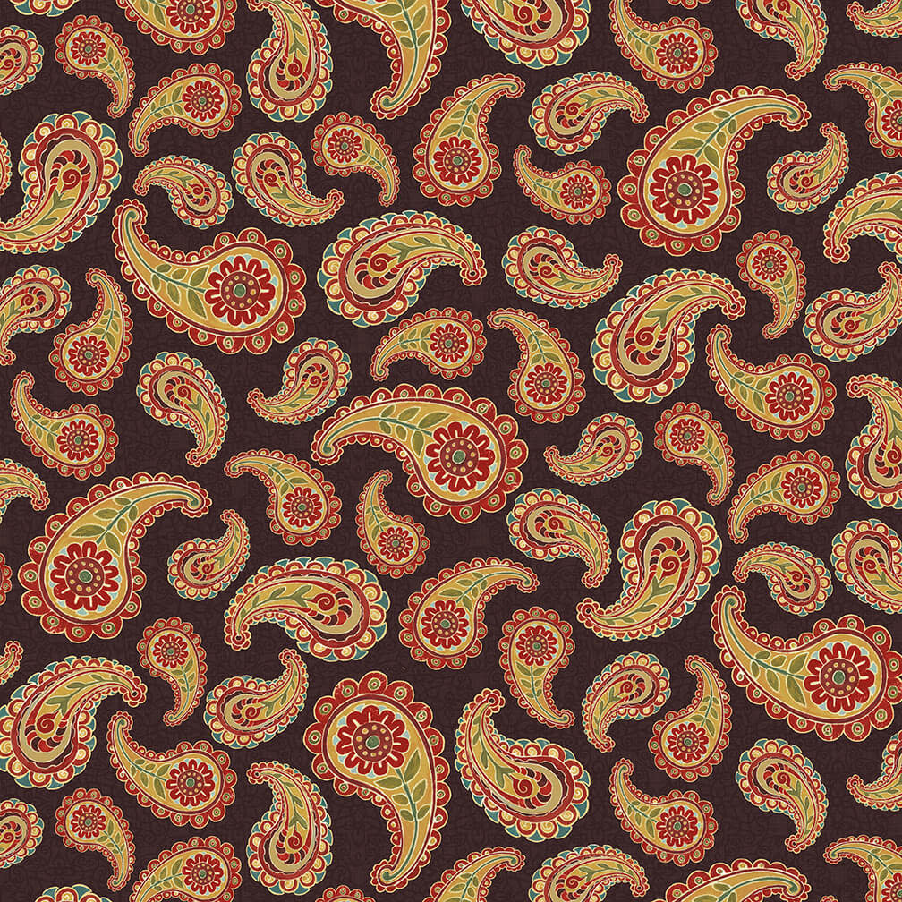 Blank Quilting Corp AVIGNON Paisley (39 on Brown) PER CM OR $21/M