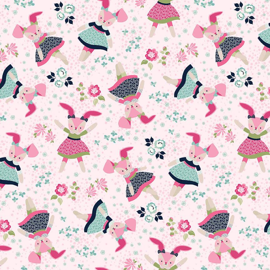 STUDIO E Boho Blooms, Tossed Bunnies 22 Pink , /cm or $21/m