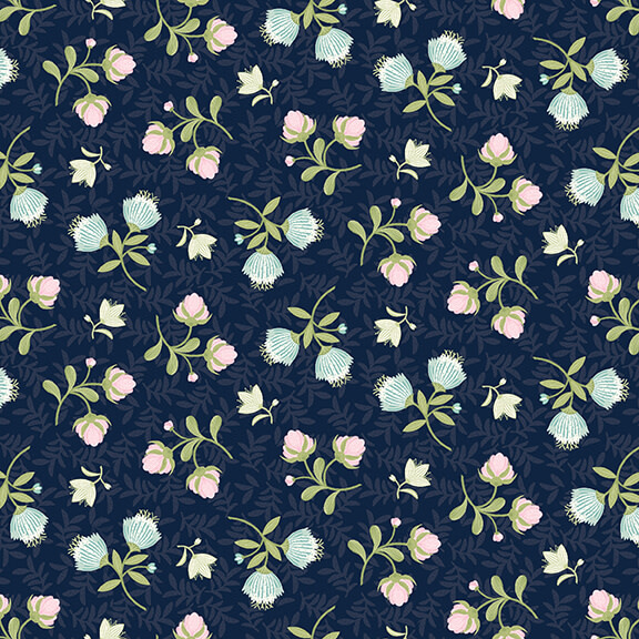 STUDIO E Boho Blooms, Tossed Roses 77 Navy , /cm or $21/m