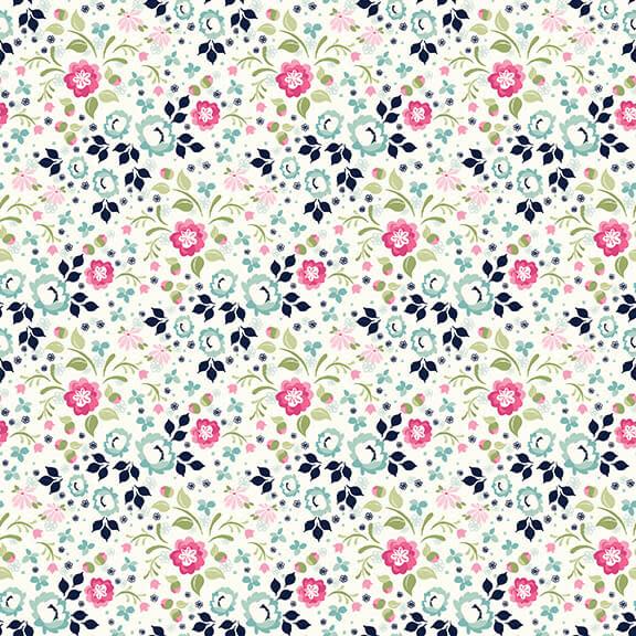 STUDIO E Boho Blooms, Ditsy flowers on White, /cm or $21/m