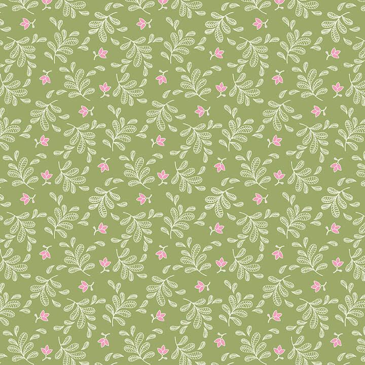 STUDIO E Boho Blooms, Tossed Sprigs 66 light Green , /cm or $21/m