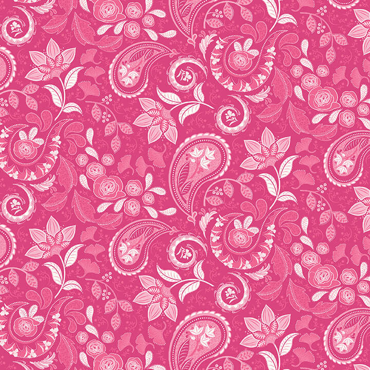 STUDIO E Boho Blooms, Paisley White on 28 Pink , /cm or $21/m