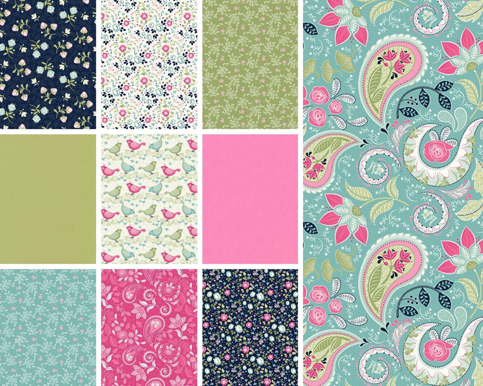 STUDIO E Boho Blooms, Florals 10x fat quarter collection