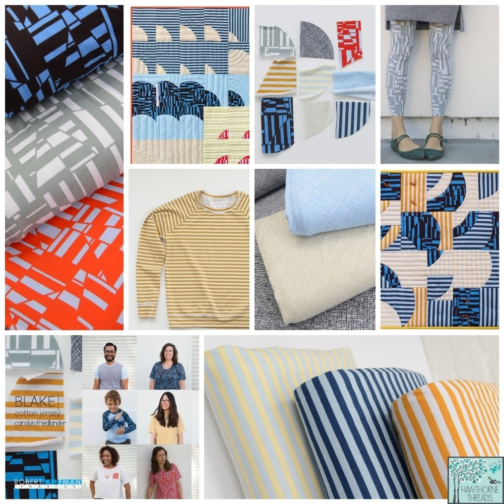 ROBERT KAUFMAN BLAKE knit Precut Jersey 1754 2 Yard Package GEO FLAME