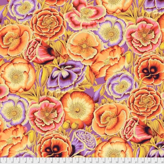 KAFFE FASSETT KF Collective Poppy Garden - Orange ,  per cm $18/m