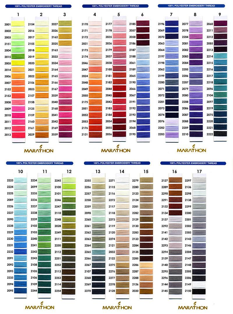 MARATHON Colour 2001 - 1000mtr POLY EMBROIDERY THREAD