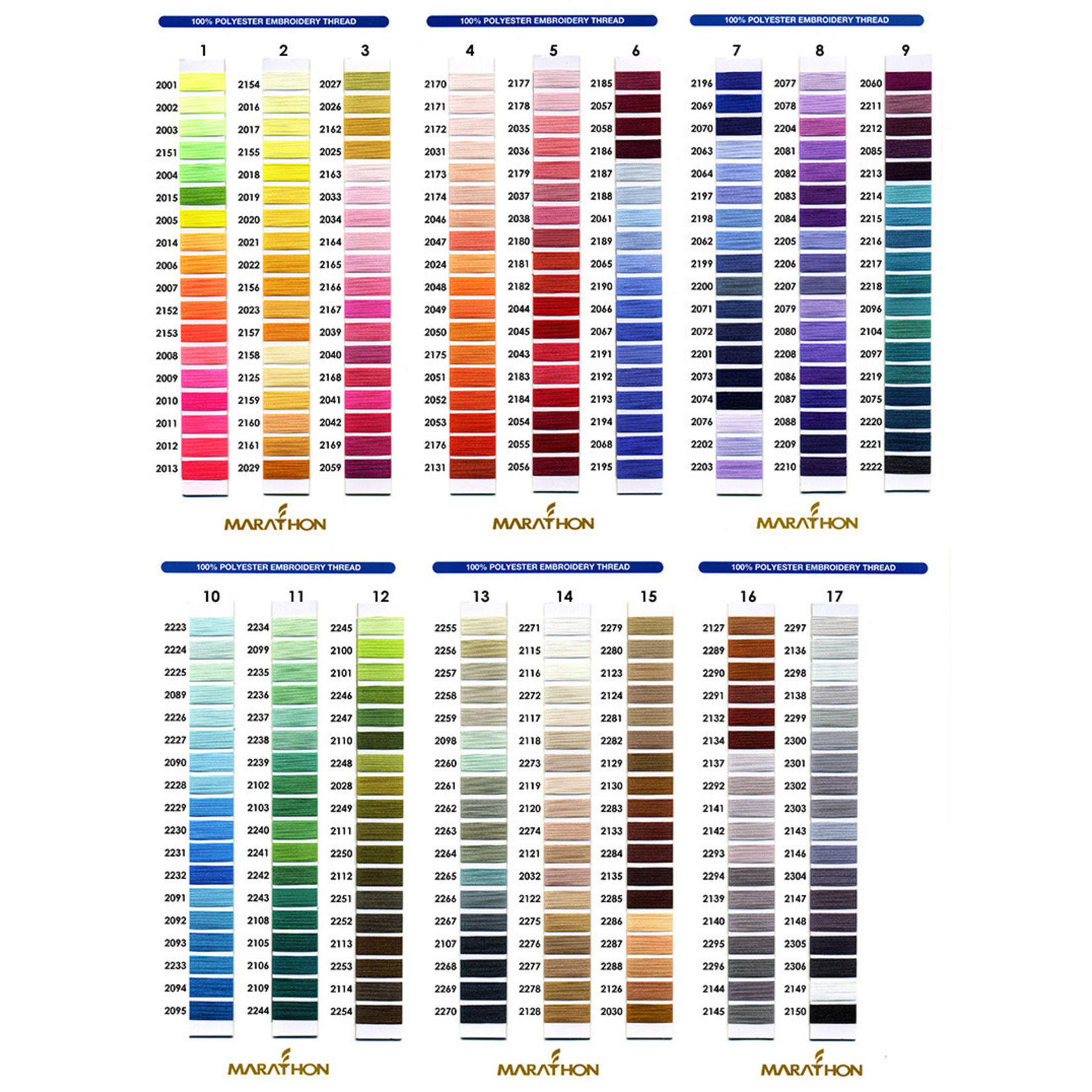 Marathon Colour 2030 - 1000mtr POLY EMBROIDERY THREAD