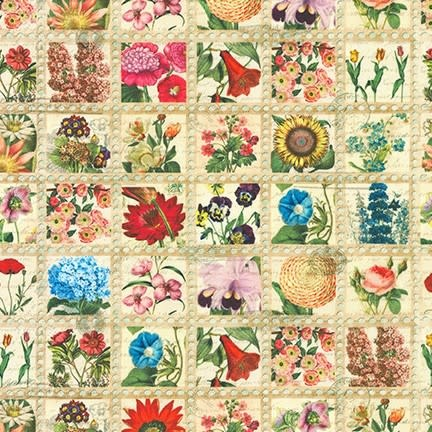 ROBERT KAUFMAN Library of Rarities, Flower Packets, Vintage Natural, per cm or $20/m