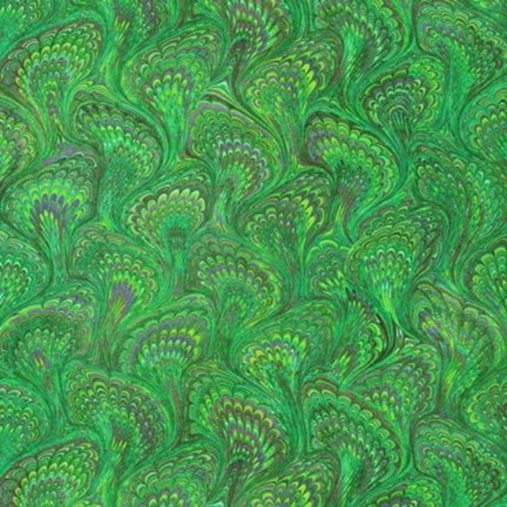 Robert Kaufman Library of Rarities, Emerald Marbled Endpaper, per cm or $20/m