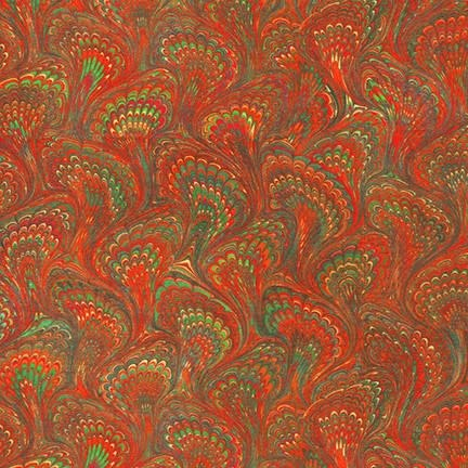 ROBERT KAUFMAN Library of Rarities, Ruby Marbled Endpaper, per cm or $20/m