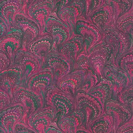 ROBERT KAUFMAN Library of Rarities, Wineberry Marbled Endpaper, per cm or $20/m