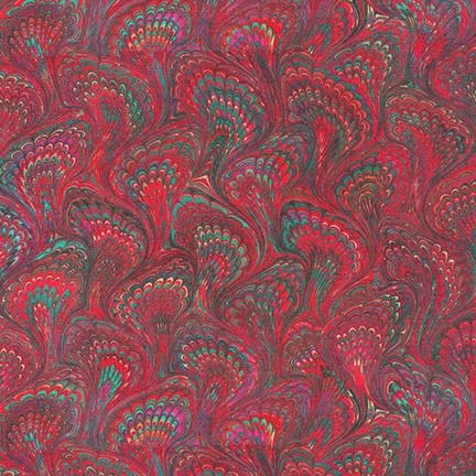 ROBERT KAUFMAN Library of Rarities, Claret Marbled Endpaper, per cm or $20/m