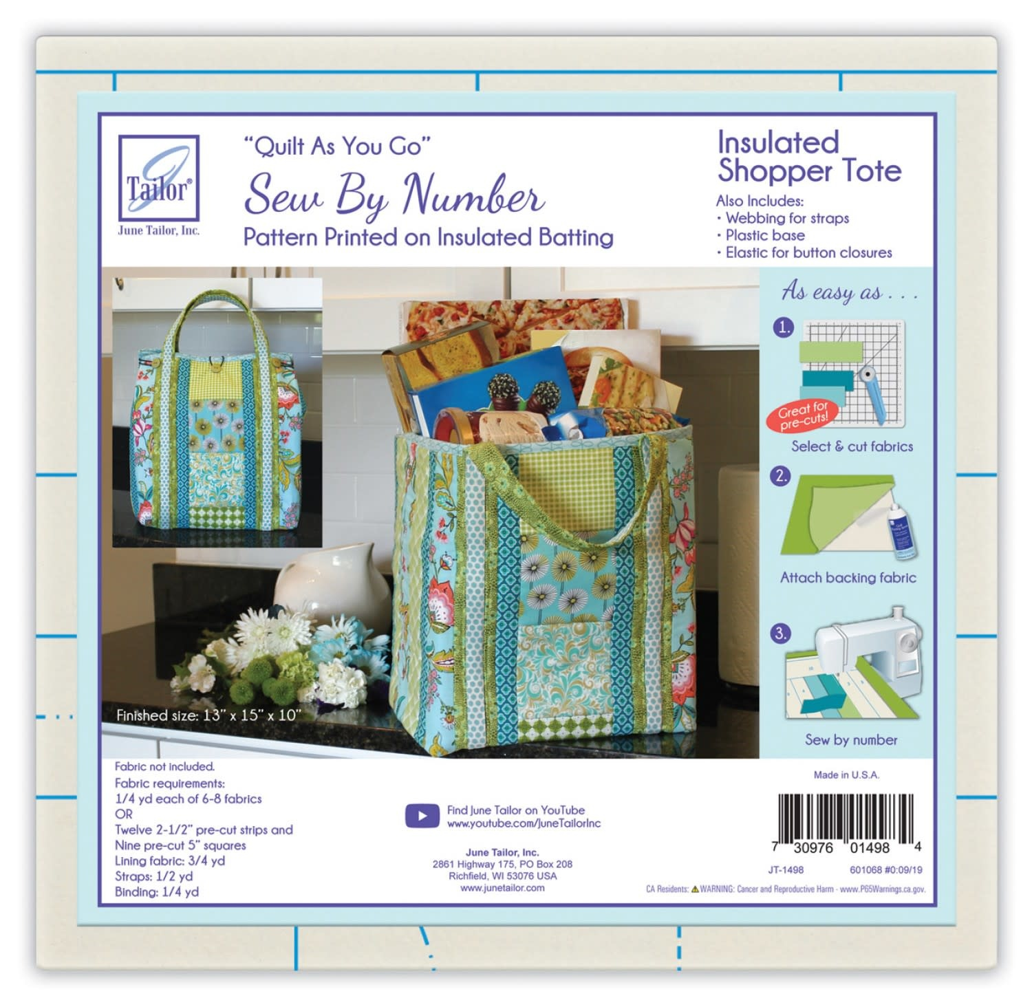 JUNE TAILOR QUILT AS YOU GO, INSULATED SHOPPER TOTE