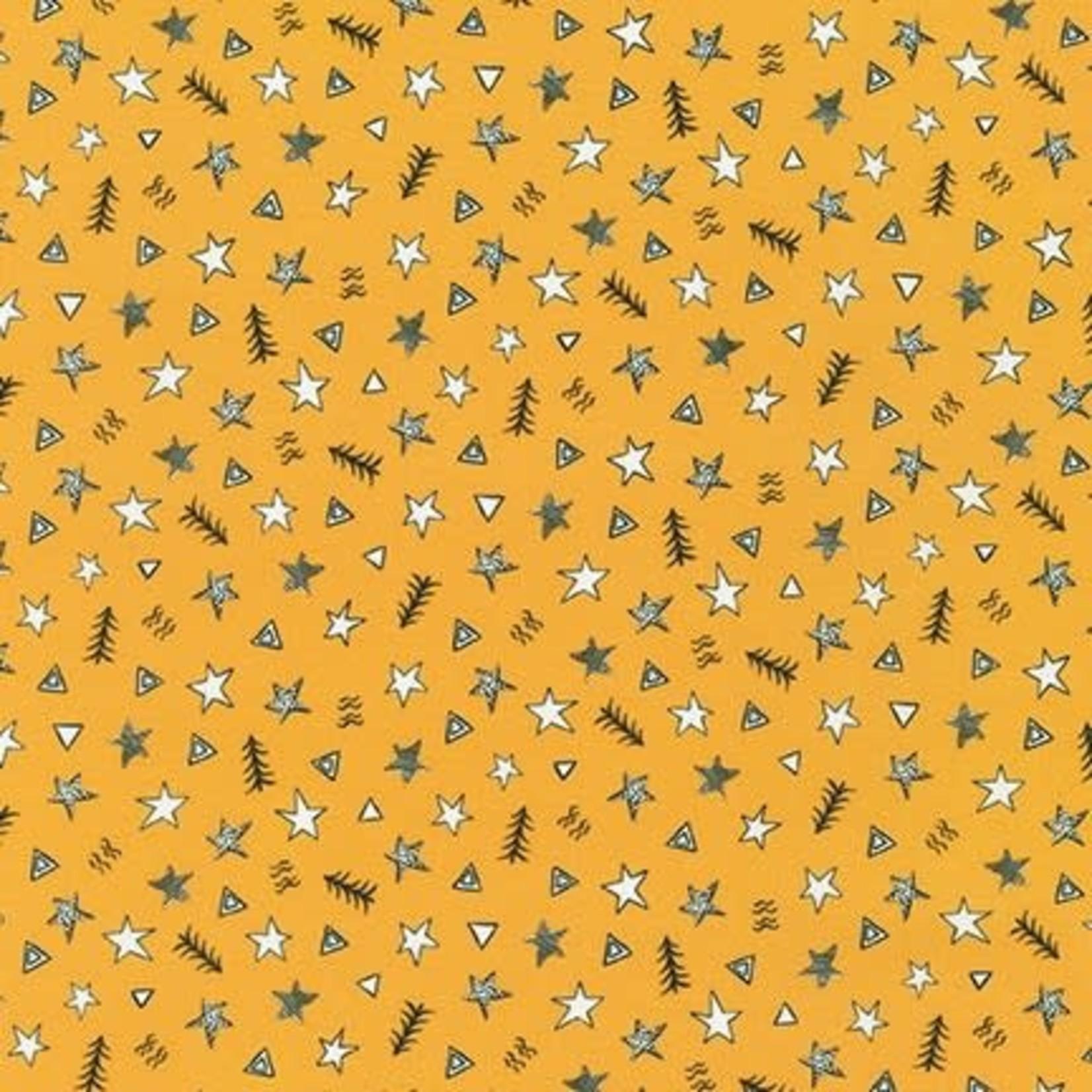 ROBERT KAUFMAN NEIGHBOURHOOD PALS, Stars on Yellow, Per Cm or $19/m