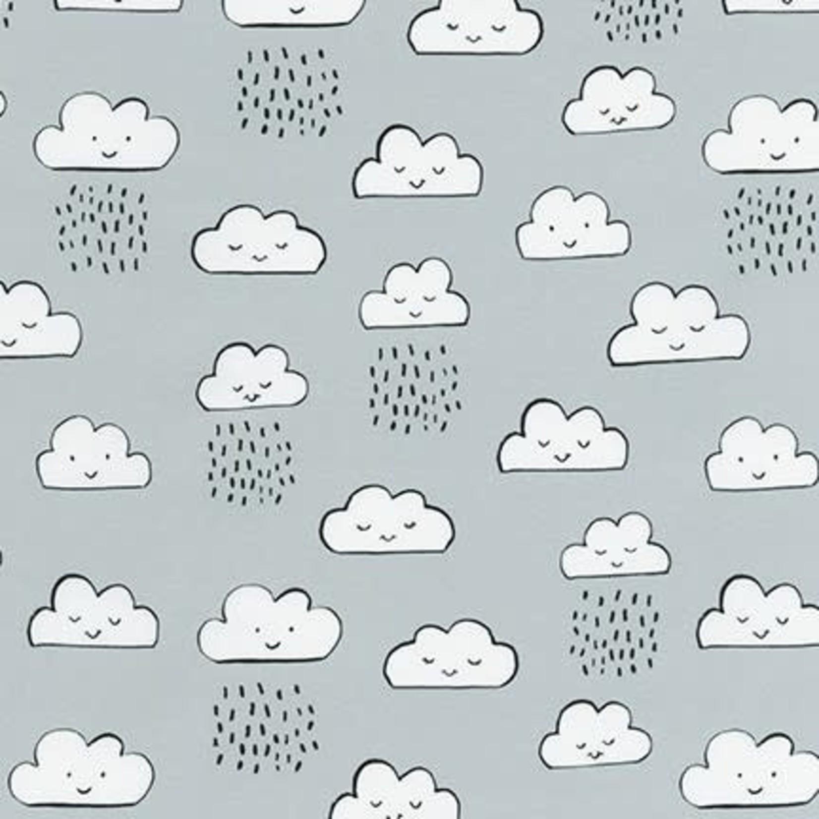 Robert Kaufman NEIGHBOURHOOD PALS, Clouds on Grey, Per Cm or $19/m