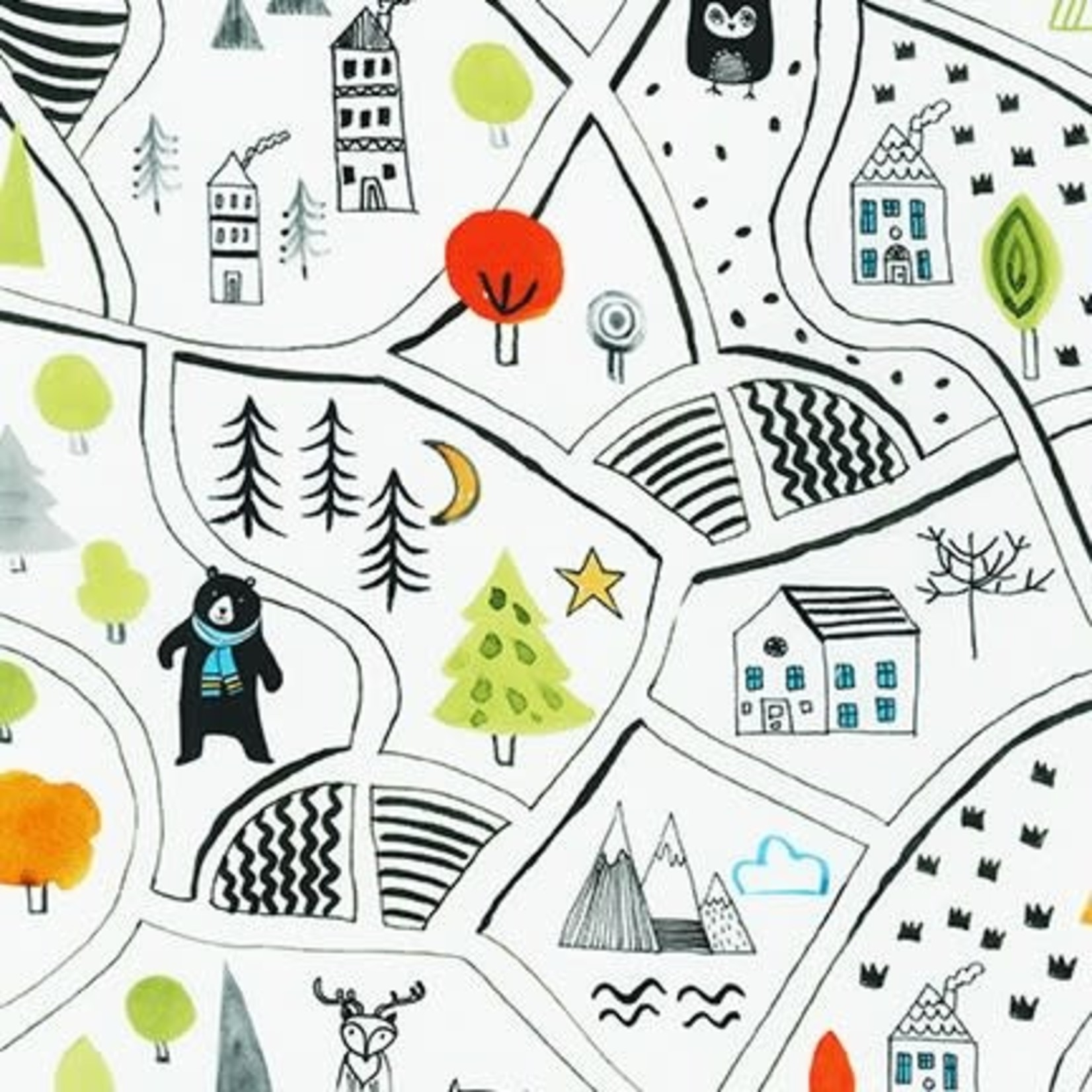 Robert Kaufman NEIGHBOURHOOD PALS, Neighbourhood Map on White, Per Cm or $19/m