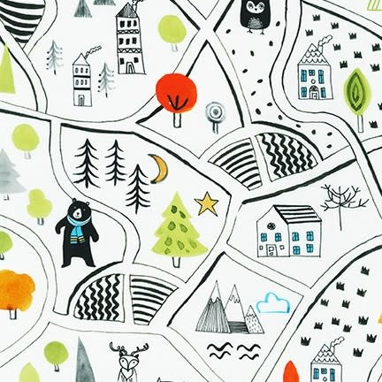 ROBERT KAUFMAN NEIGHBOURHOOD PALS, Neighbourhood Map on White, Per Cm or $19/m