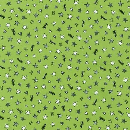 ROBERT KAUFMAN NEIGHBOURHOOD PALS, Stars on Green, Per Cm or $19/m