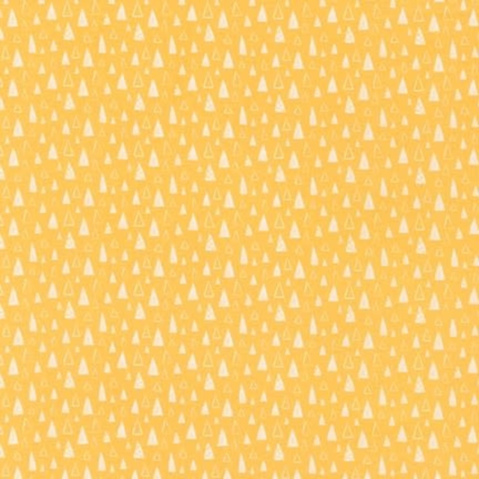 Robert Kaufman NEIGHBOURHOOD PALS, Triangles on Yellow, Per Cm or $19/m