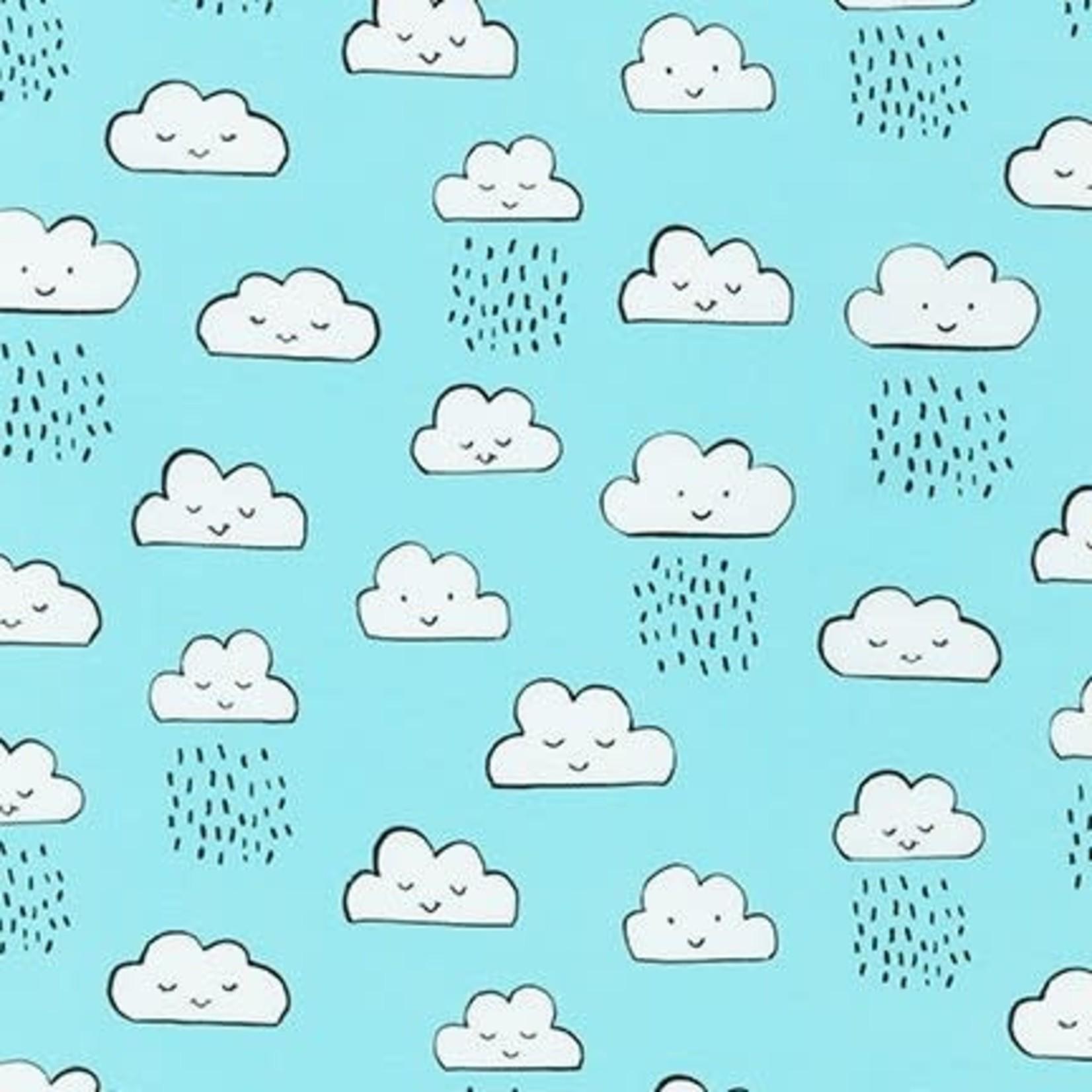 Robert Kaufman NEIGHBOURHOOD PALS, Clouds on Sky Blue, Per Cm or $19/m