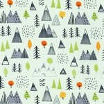 Robert Kaufman NEIGHBOURHOOD PALS, Forest and Mountains on Pale Green, Per Cm or $19/m