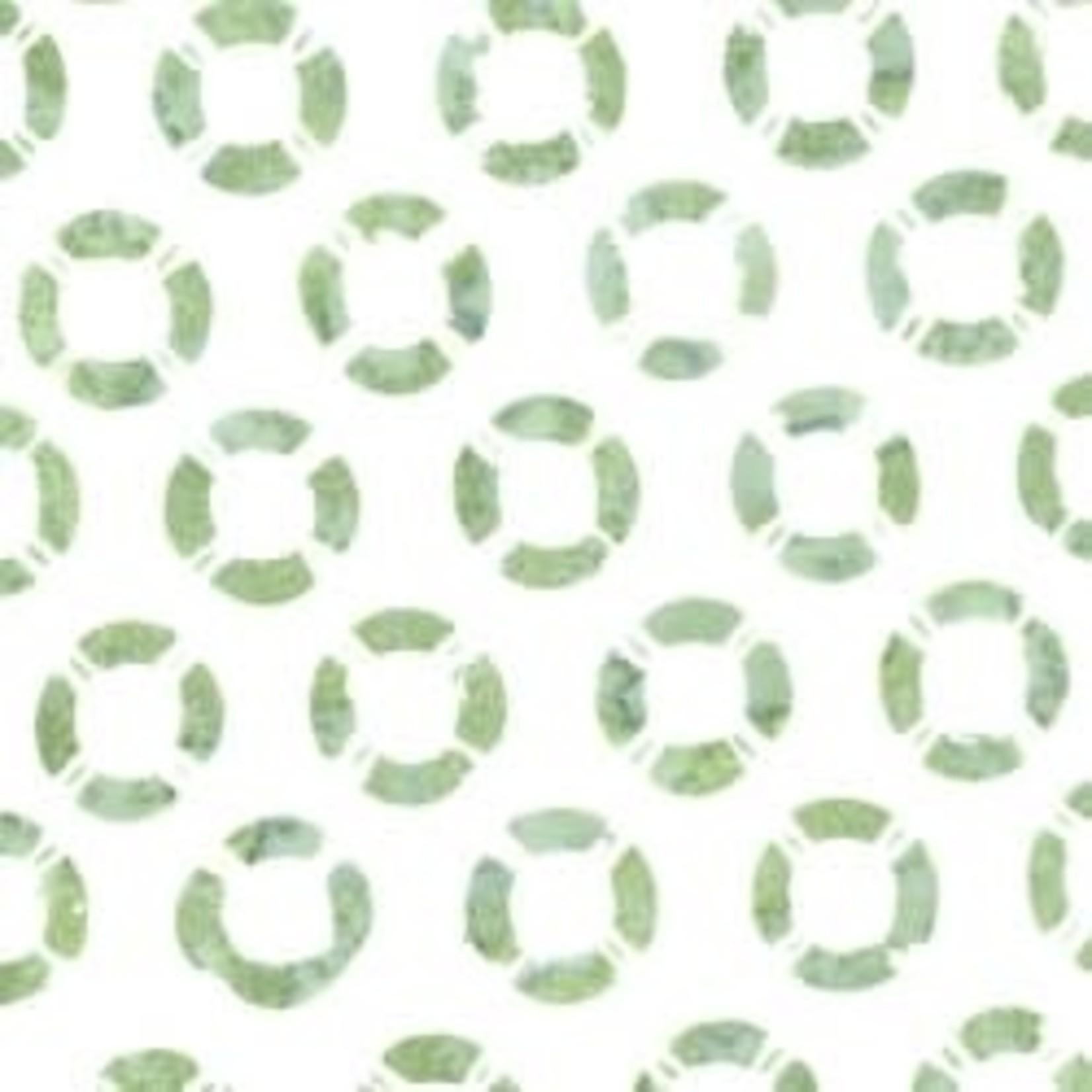 MAYWOOD COASTAL GETAWAY BATIKS, Life Preservers  (Green on White) , Per Cm or $20/m