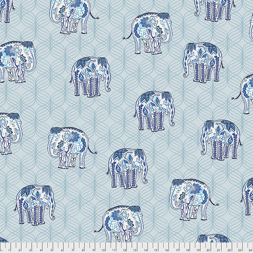 FREE SPIRIT Kismet - The Parade - Blue, per cm or $16/m